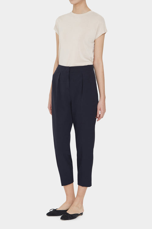 NAVY GABBY HIGH RISE PLEATED PANTS