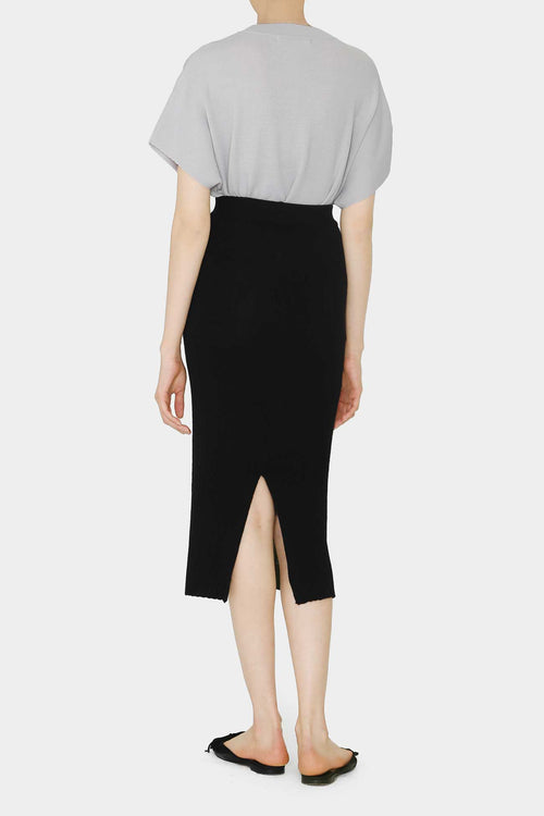 BLACK PIM LIGHT KNIT PENCIL SKIRT