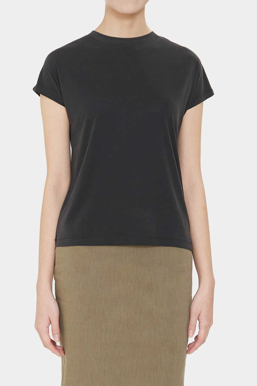 SOFT BLACK PEIGE SILKY T-SHIRT