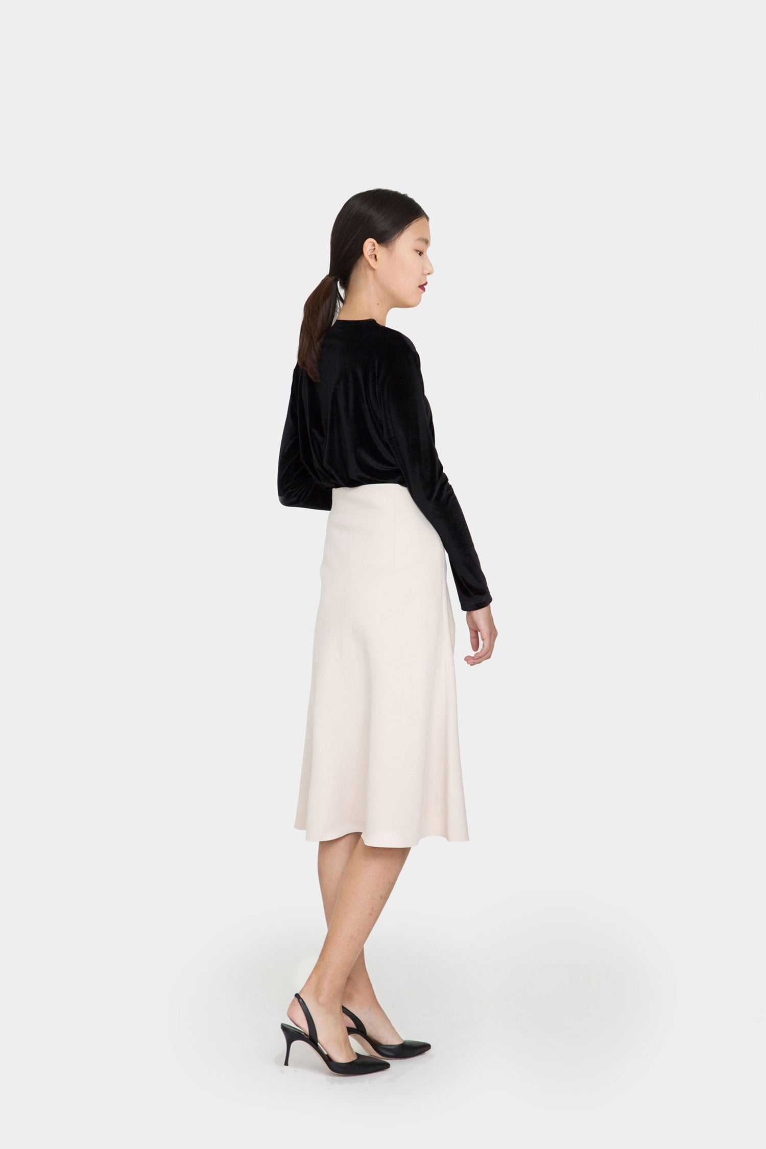 IVORY PHOEBE DOUBLE FACED A-LINE SKIRT
