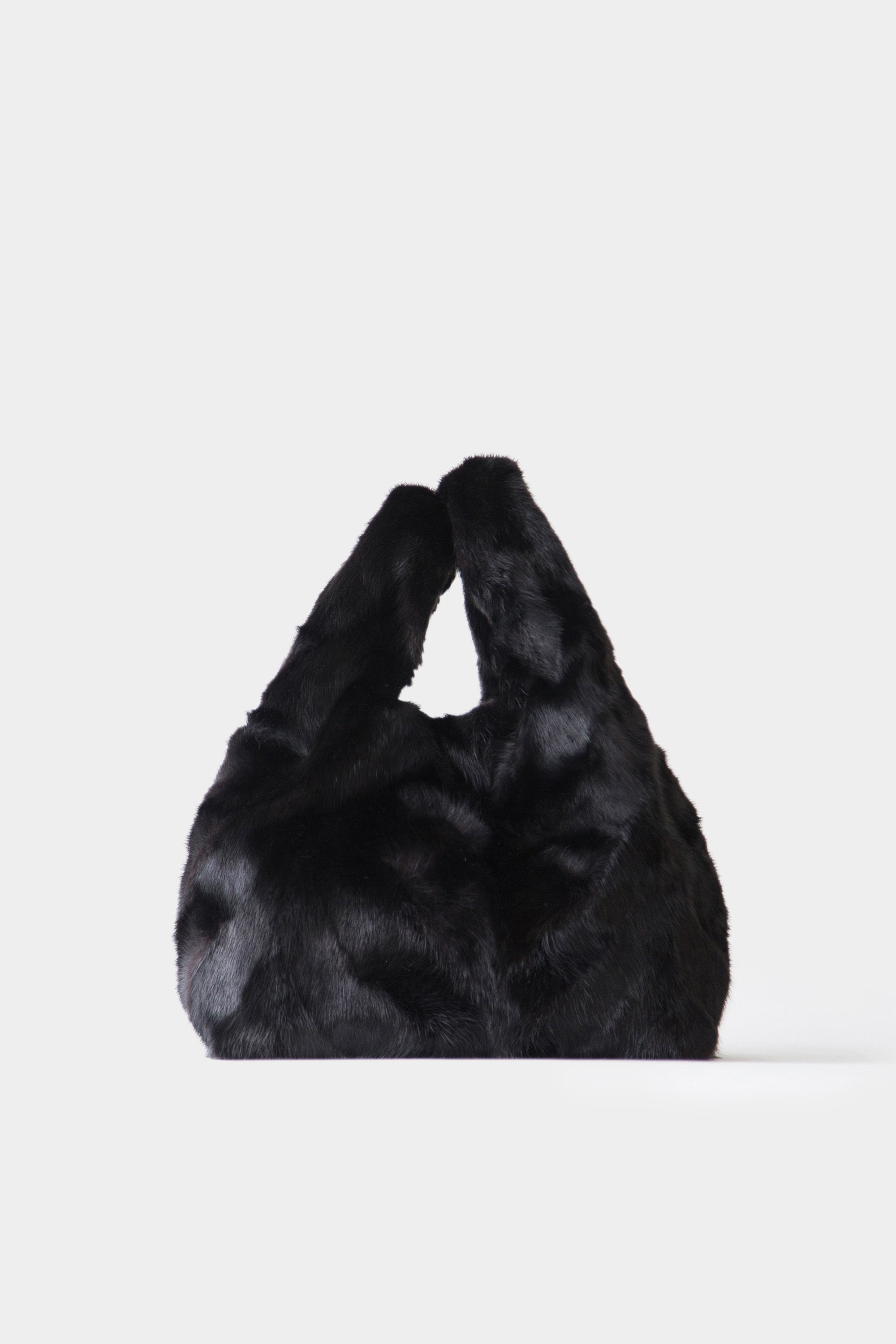 BLACK SALI MINK BUCKET BAG