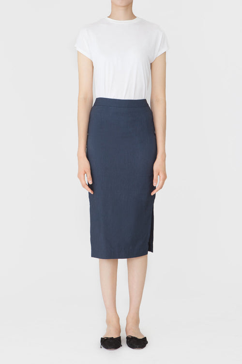 DENIM IRIS LINEN SKIRT