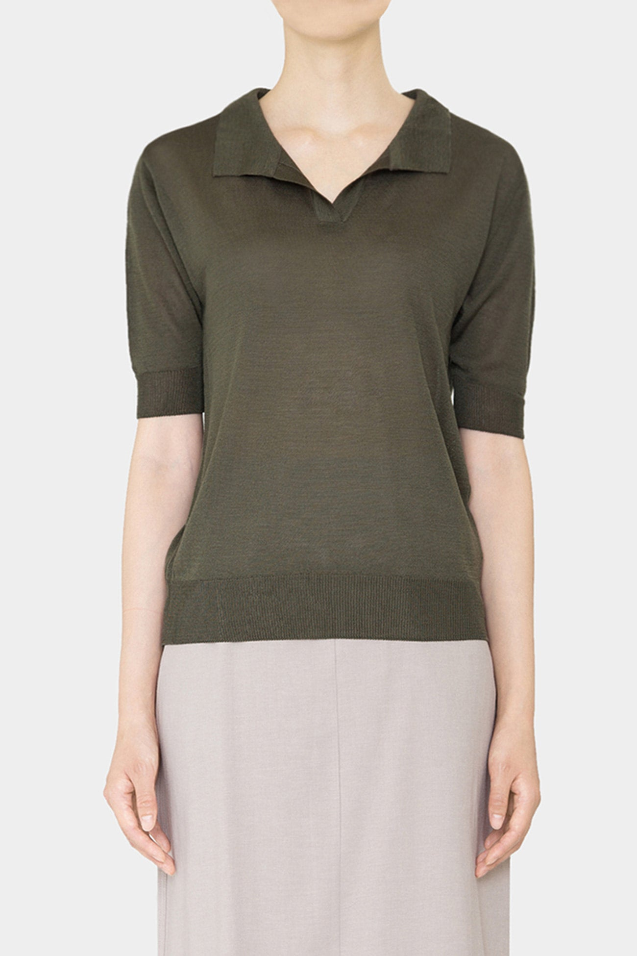 KHAKI KOU LIGHT POLO KNIT