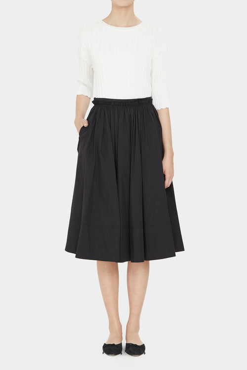 BLACK LEA COTTON FULL SKIRT