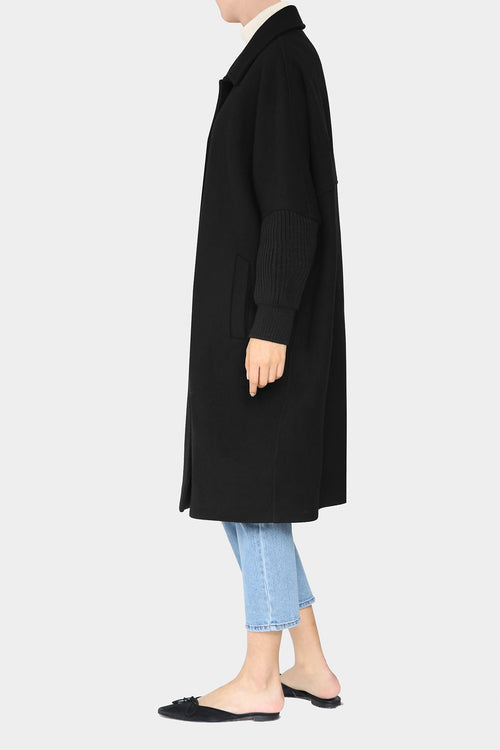BLACK TIM BOXY KNIT SLEEVE COAT