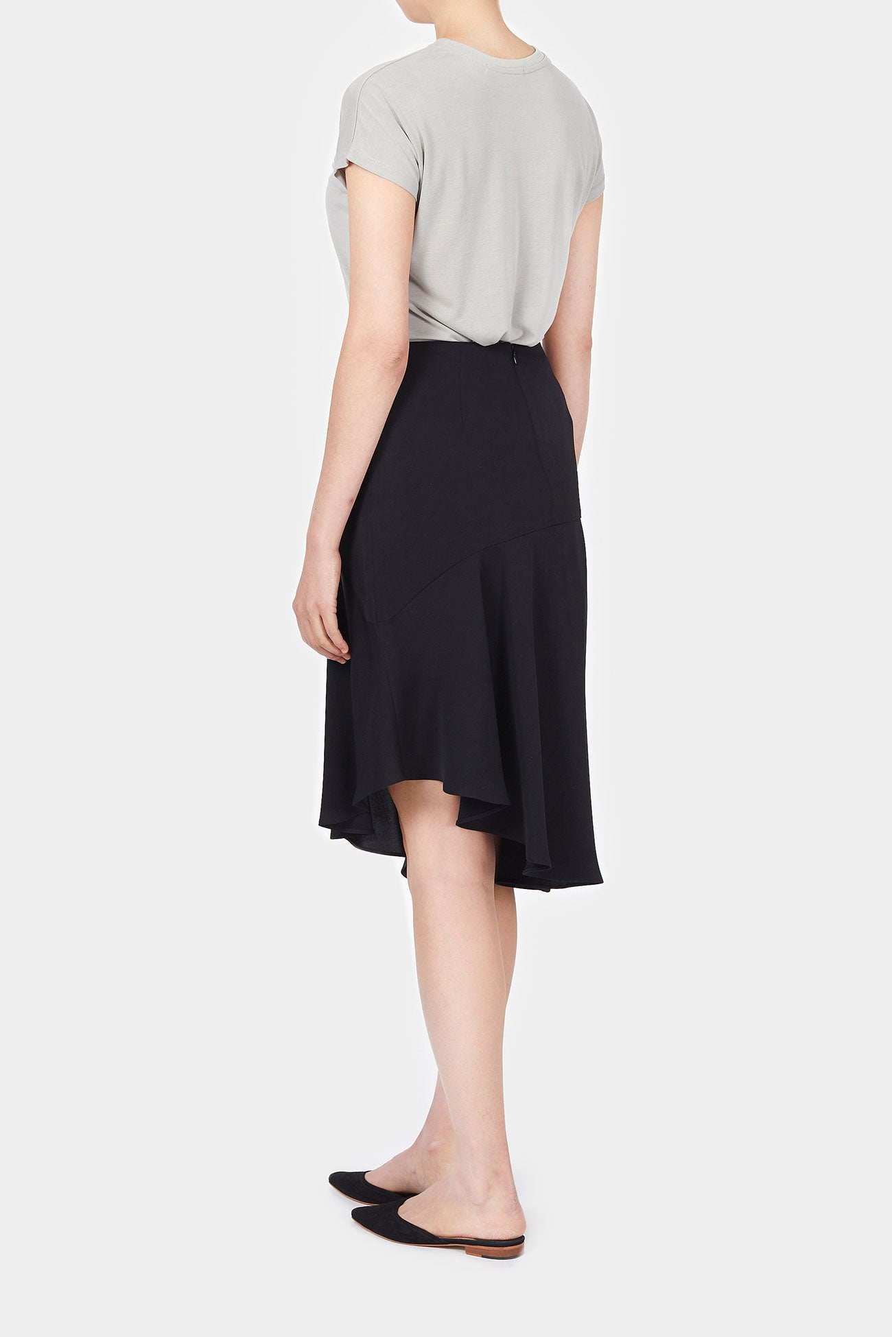 BLACK AMAN SLIT SKIRT