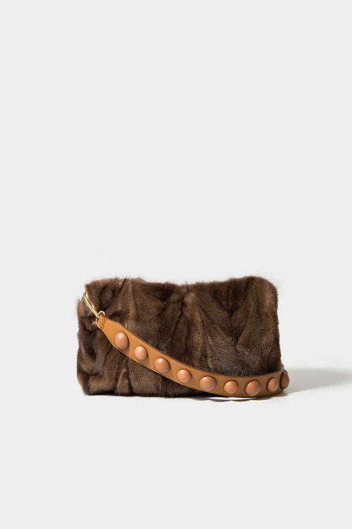 NATURAL SALI MINK CLUTCH (STRAP NOT INCLUDED)