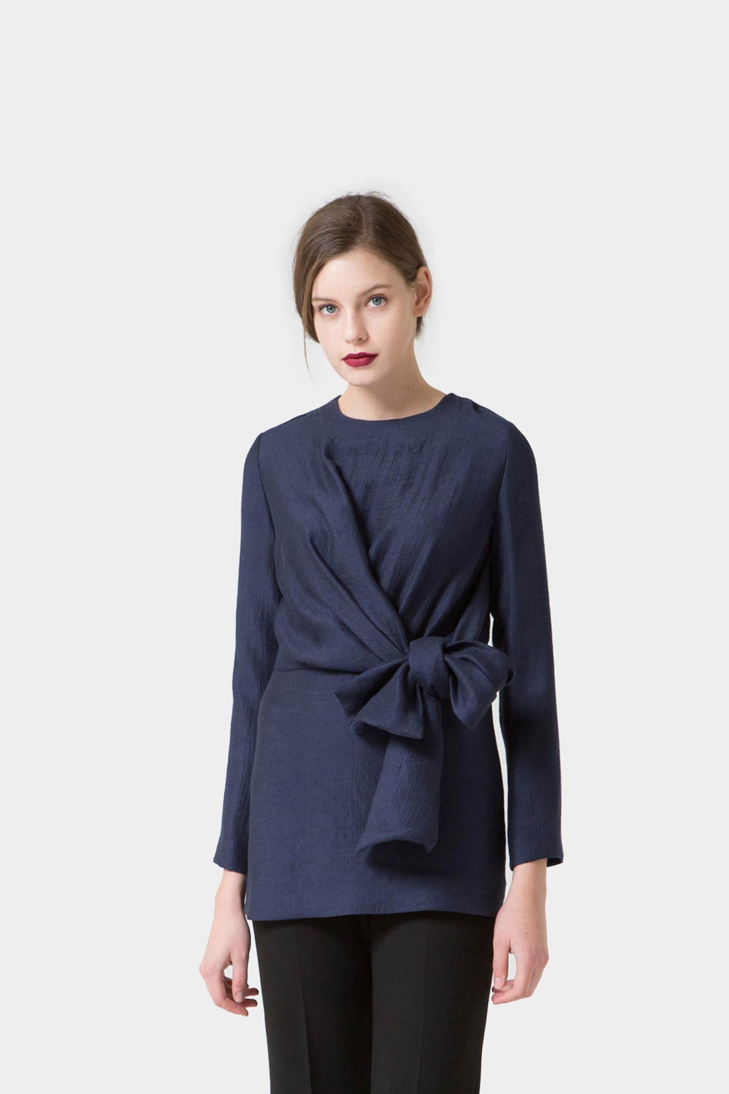 MIDNIGHT FREYA DRAPED BOW BLOUSE