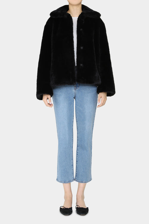 BLACK PINO FAUX MINK JACKET