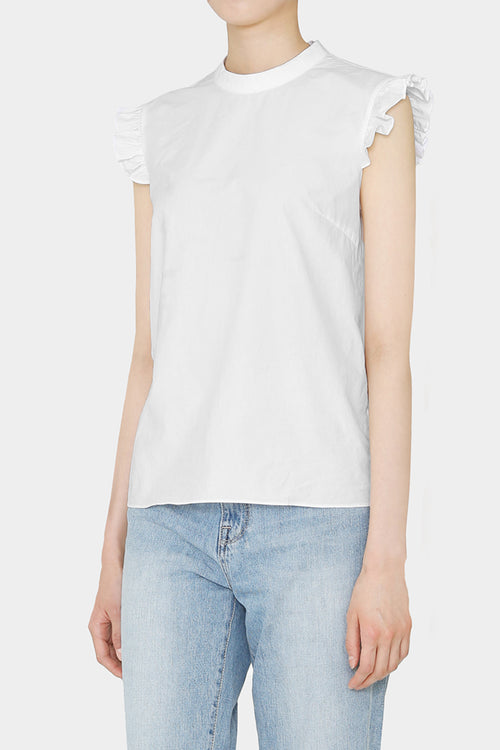 WHITE HELEN RUFFLE COTTON BLOUSE