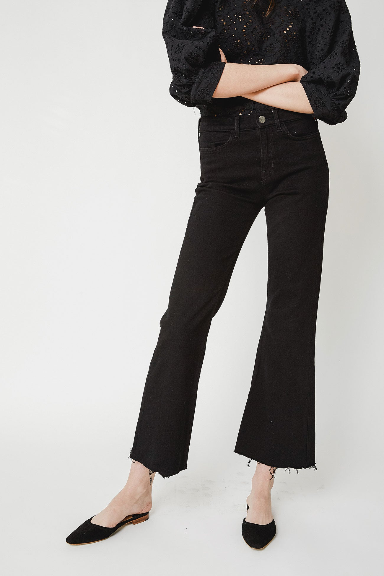 BLACK VICKY LONG FLARE DENIM