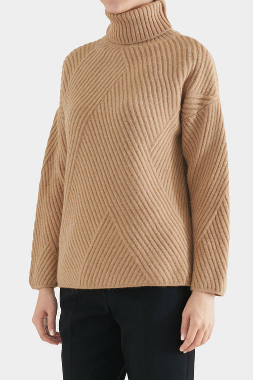 CAMEL FRAN HEAVY RIB SWEATER