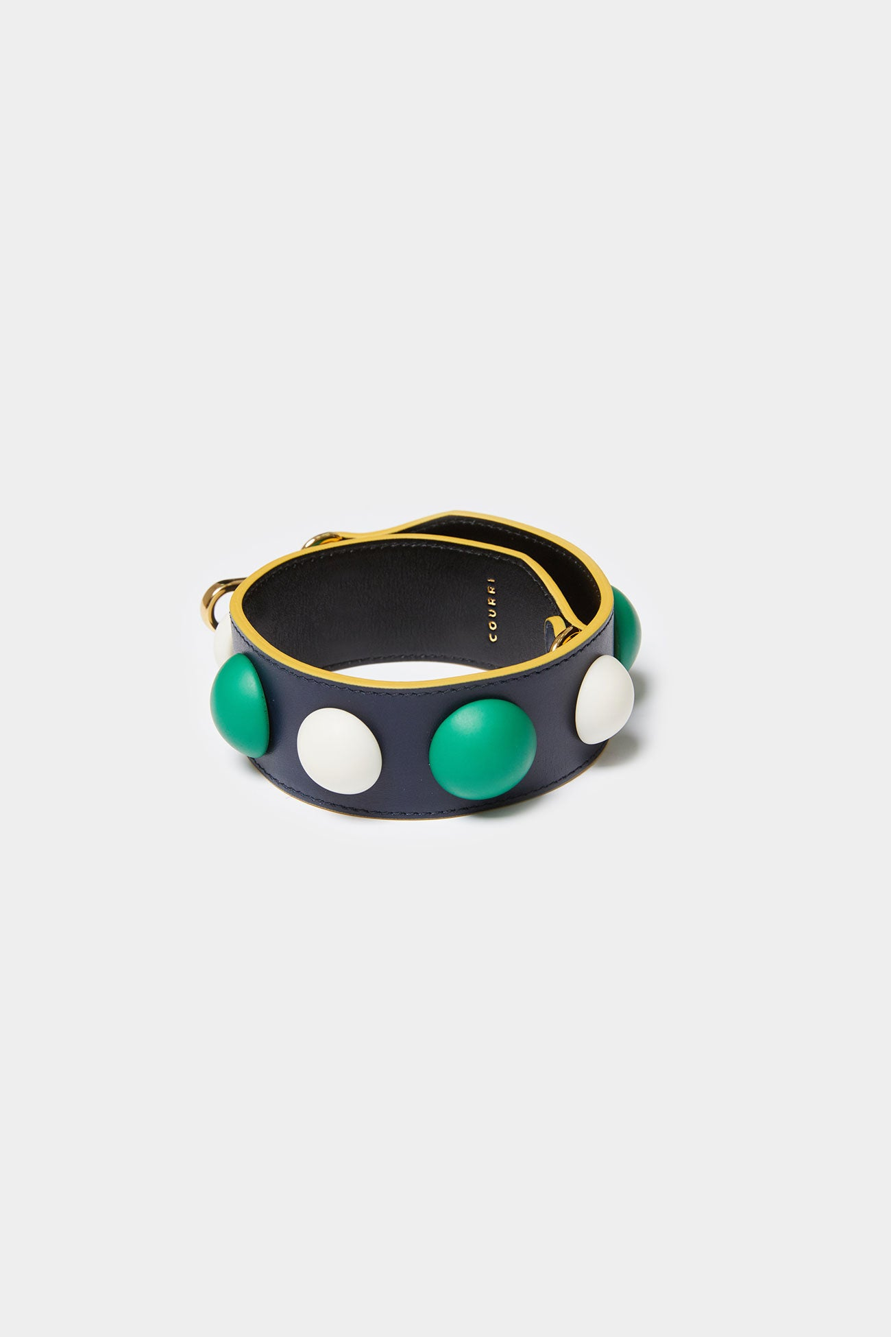 GREEN MULTI CODIE EMBELLISHED LEATHER STRAP [Short]