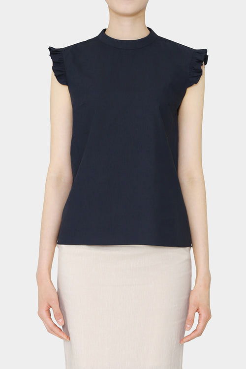 NAVY HELEN RUFFLE COTTON BLOUSE