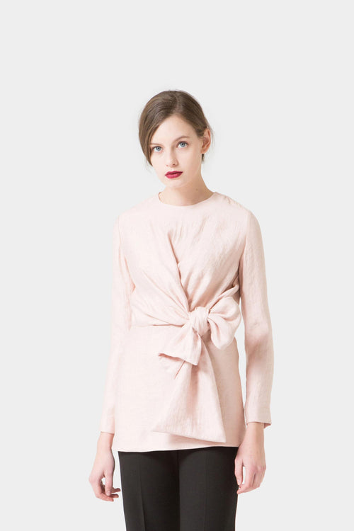 BABY PINK FREYA DRAPED BOW BLOUSE