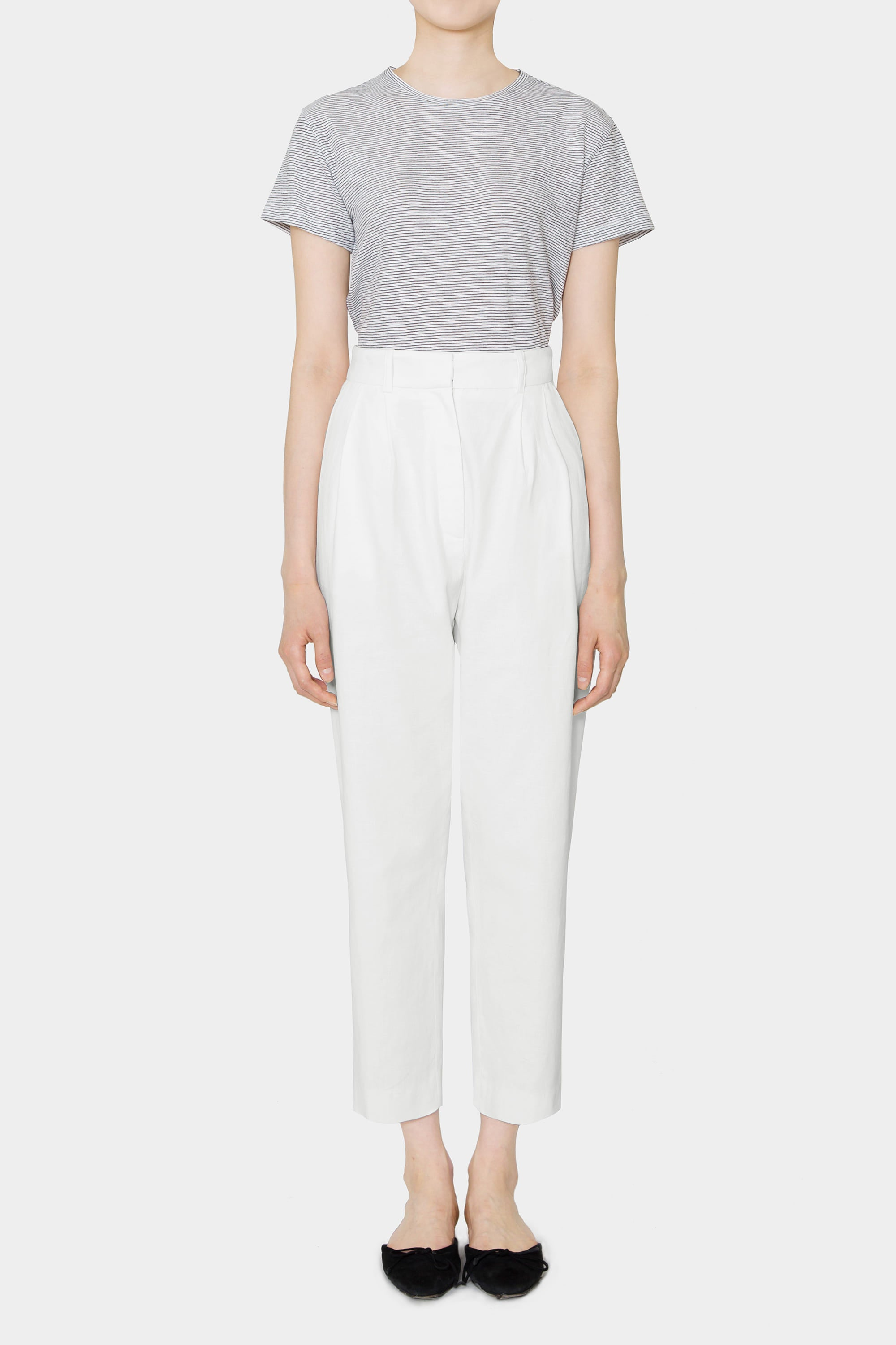 WHITE SIMONE LINEN HIGHWAIST PANTS
