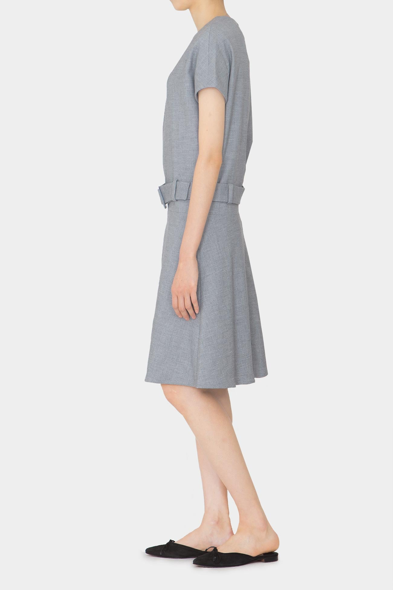 GREY STINA BUCKLE DRESS