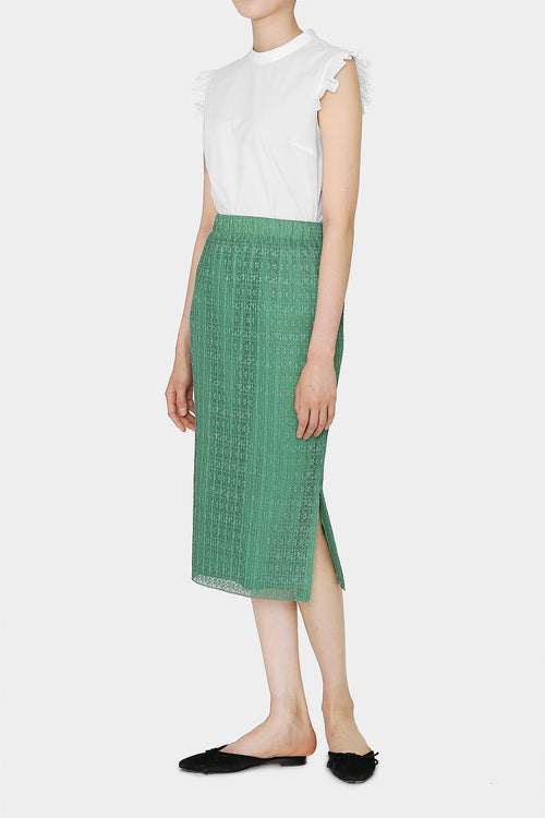 APPLE GREEN JANE LACE PENCIL SKIRT