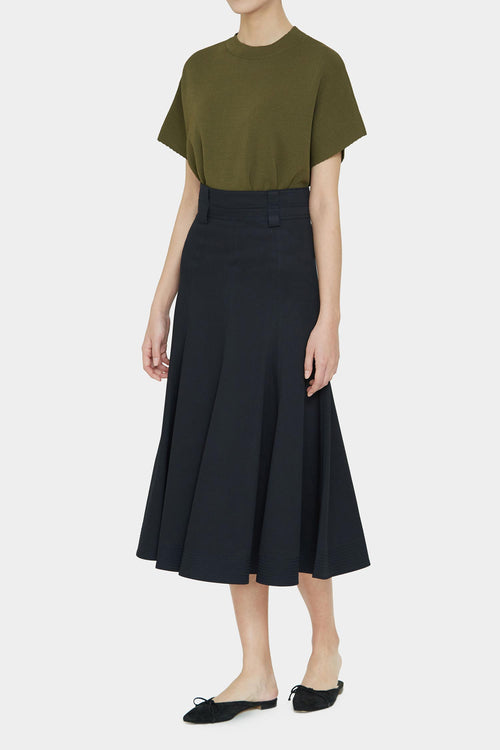 MIDNIGHT PAVEL STITCH FLARE SKIRT