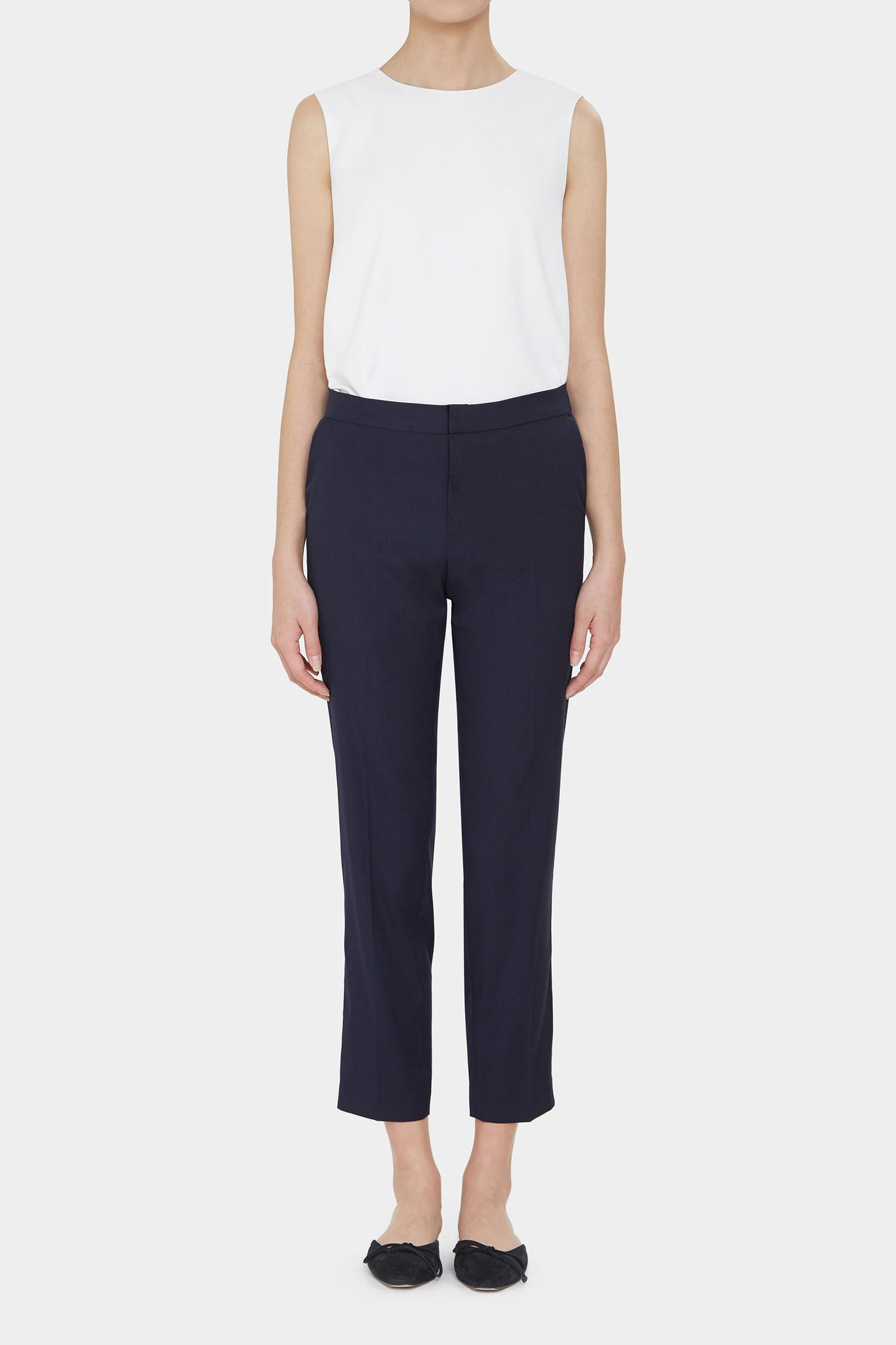 NAVY MORGAN RAYON BLEND PANTS