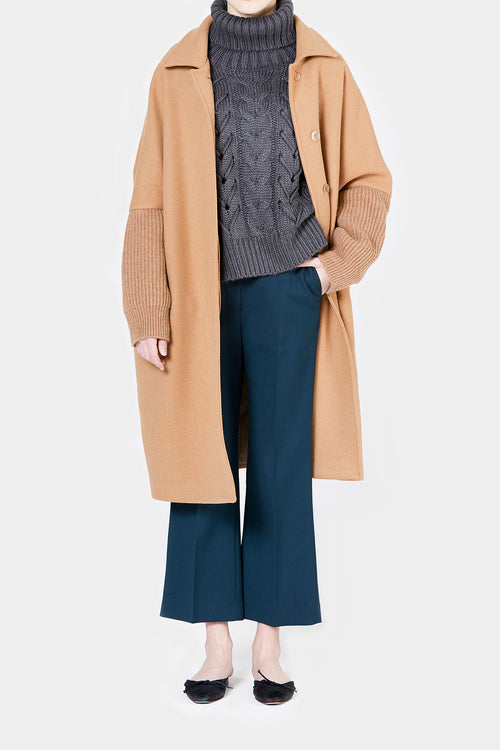 CAMEL TIM BOXY KNIT SLEEVE COAT