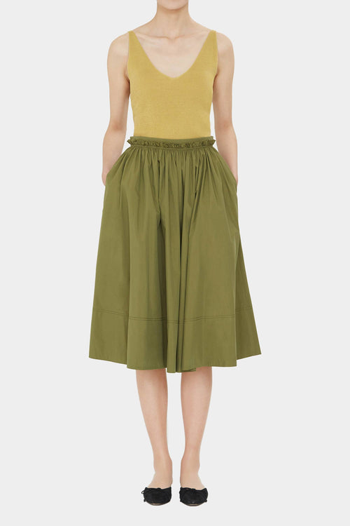 GREEN OLIVE LEA COTTON FULL SKIRT