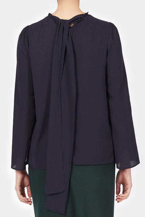 MIDNIGHT JAMES BACK RIBBON BLOUSE