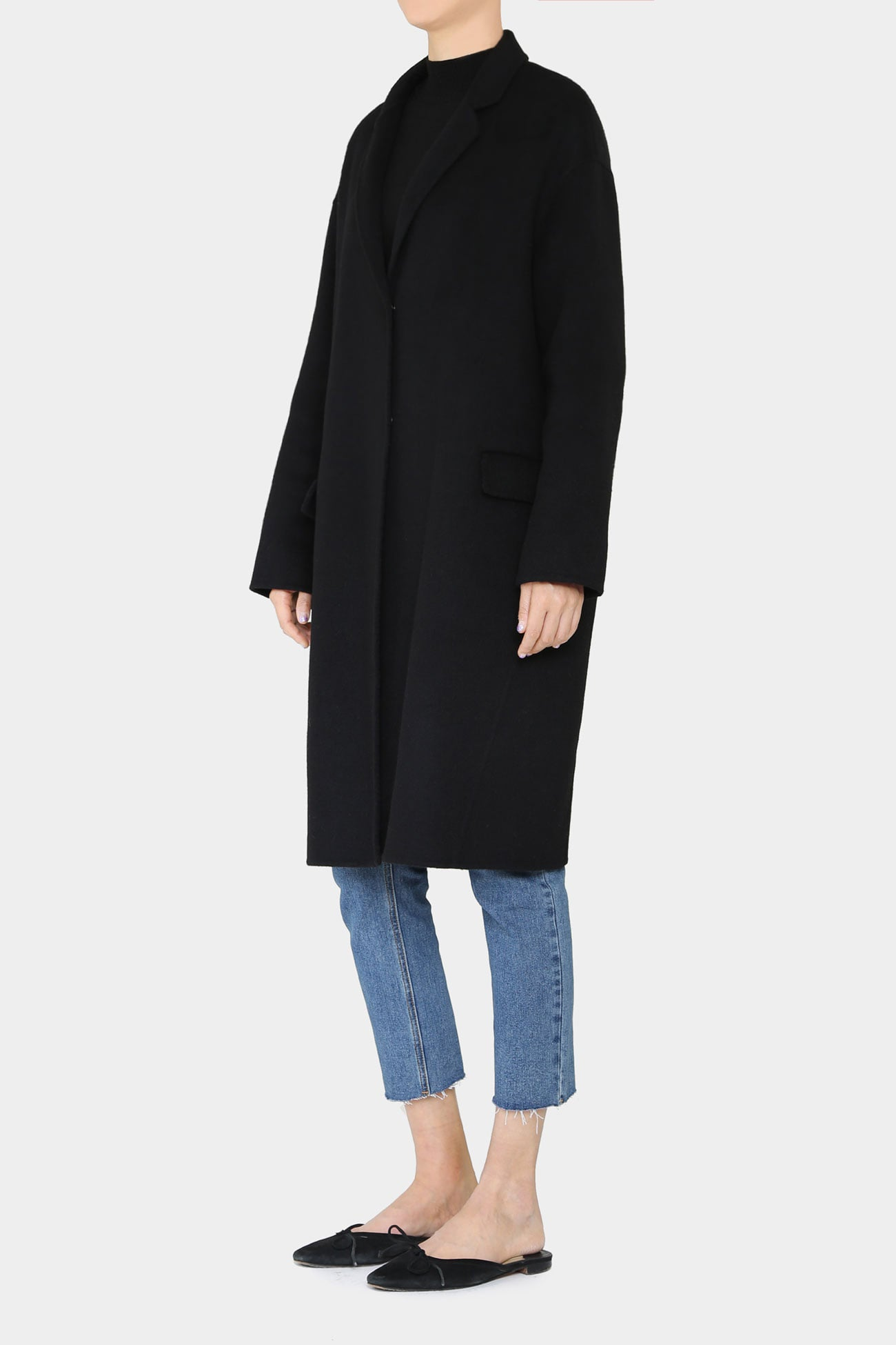 BLACK CARO HANDMADE WOOL COAT