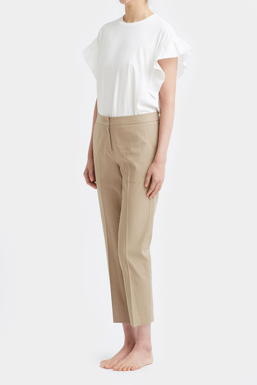 CAMEL ALVA TAILORED LINEN PANTS