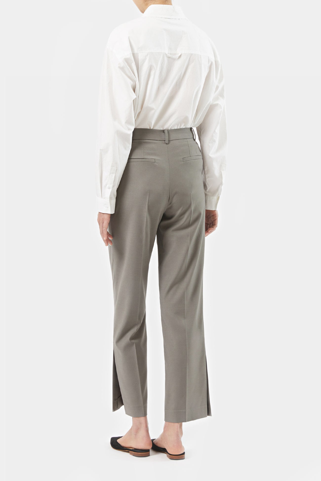 KHAKI KRIS SIDE SLIT PANTS