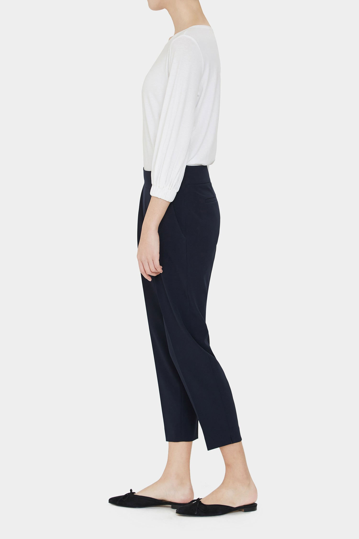 NAVY INES PLEATED PANTS