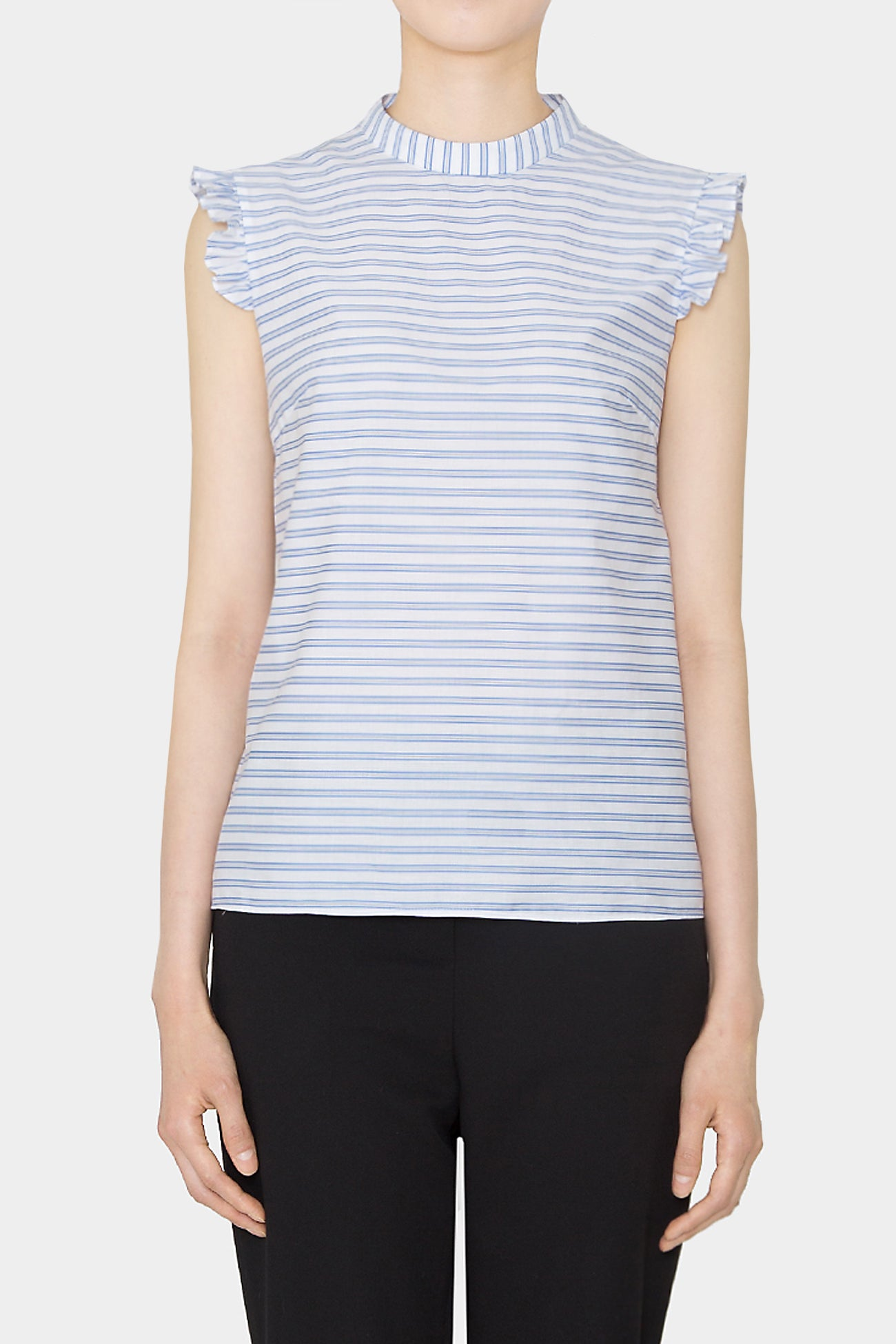 STRIPE HELEN RUFFLE COTTON BLOUSE