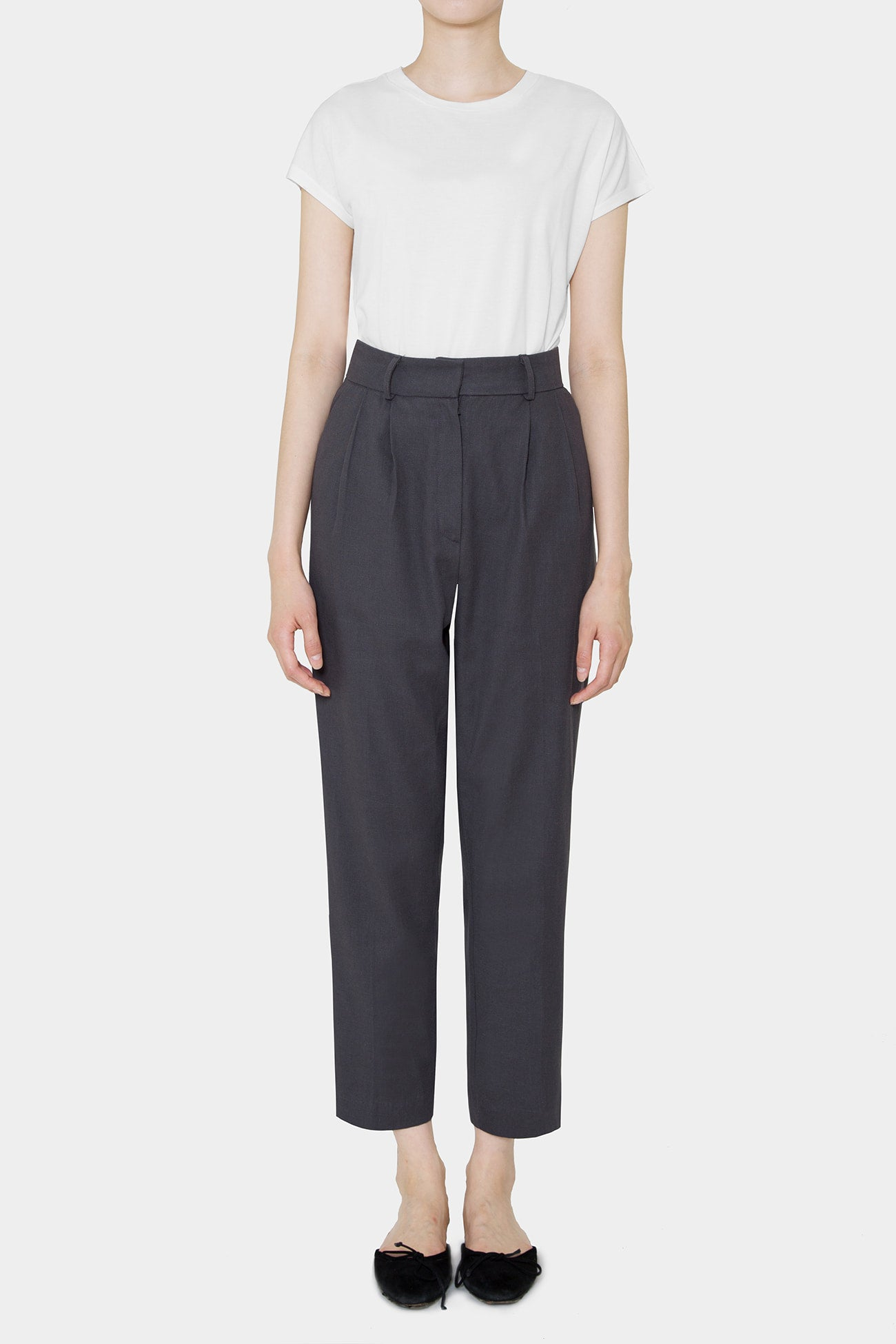 CHARCOAL SIMONE LINEN HIGHWAIST PANTS