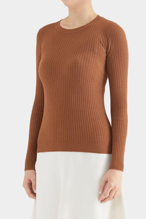 BROWN GIAN SIMPLE RIB CREWNECK