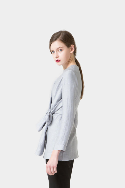 SILVER FREYA DRAPED BOW BLOUSE