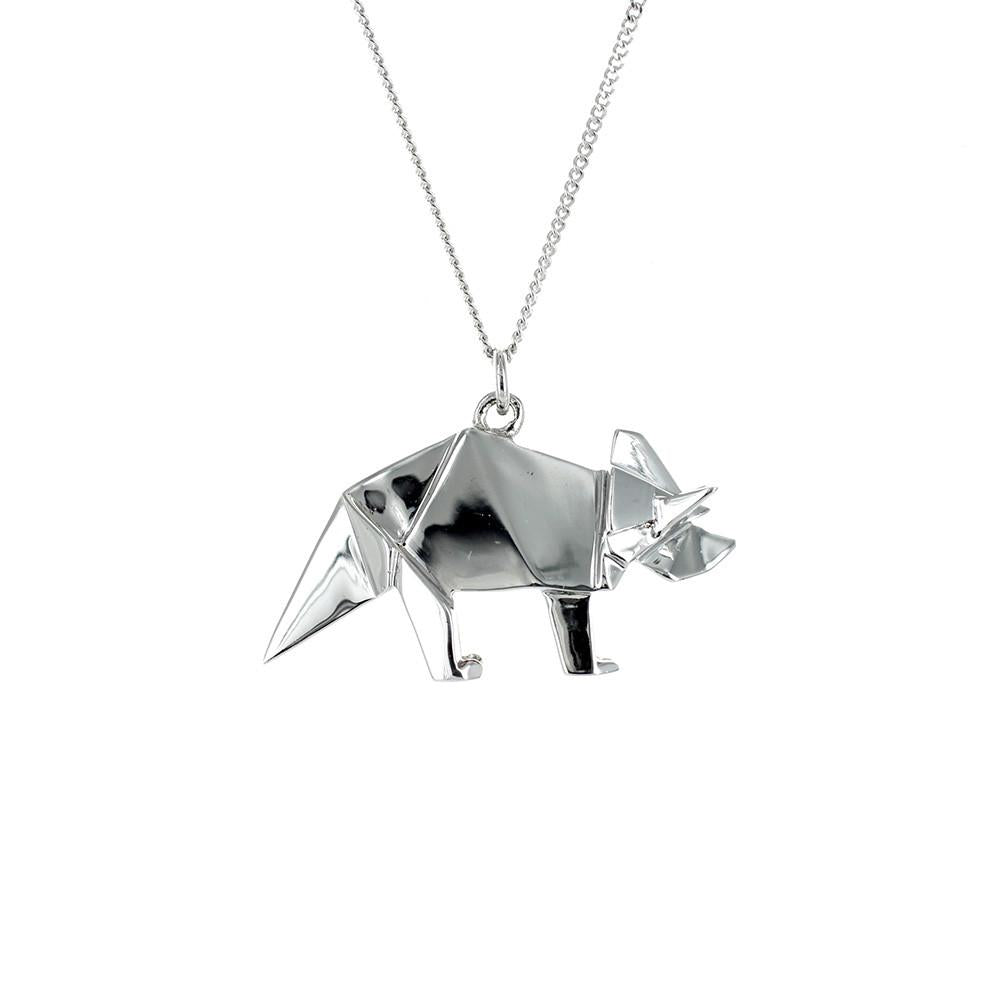 Origami Jewellery Sterling Silver Triceratops Necklace Gm6Mb