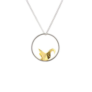 Circle Swan Silver & Gold Necklace