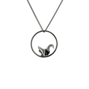 Circle Swan Gunmetal Black Necklace