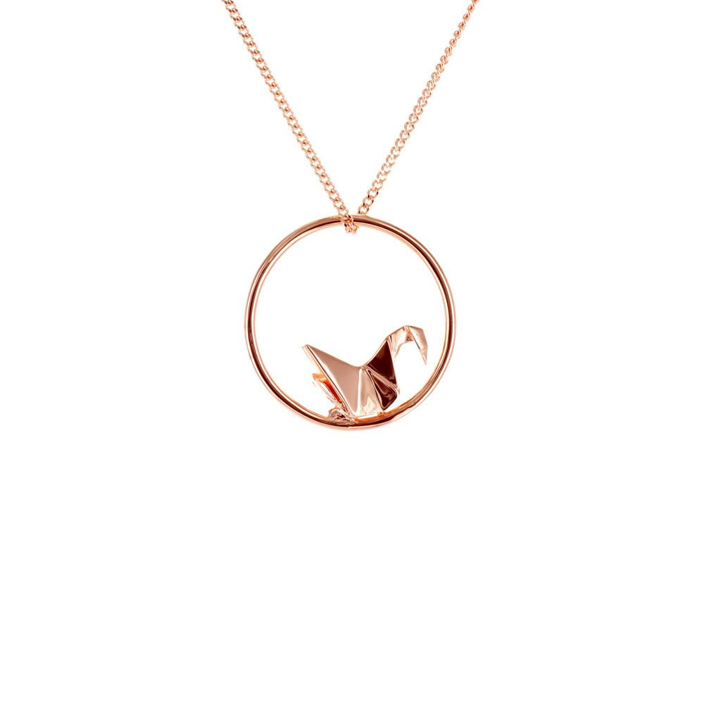 Circle Swan Rose Gold Necklace