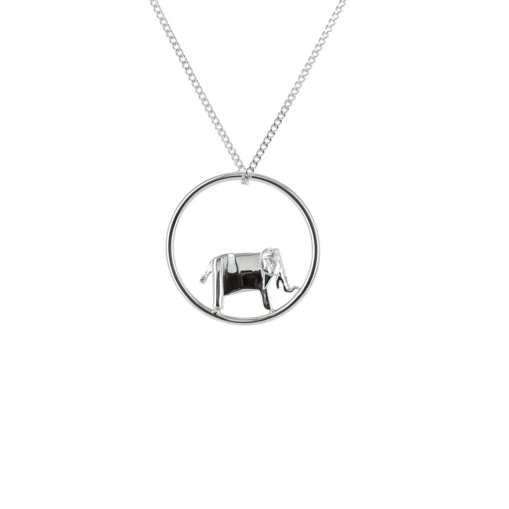Circle Elephant Silver Necklace