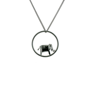 Circle Elephant Gunmetal Black Necklace