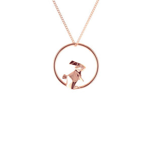 Circle Rabbit Rose Gold Necklace