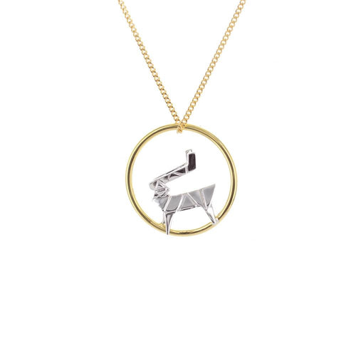 Circle Deer Gold & Silver Necklace