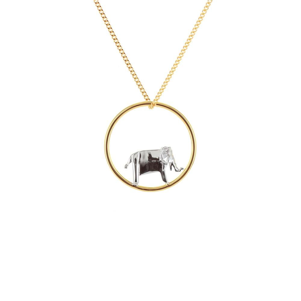 Circle Elephant Gold & Silver Necklace