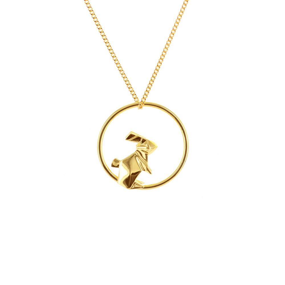 Circle Rabbit Gold Necklace
