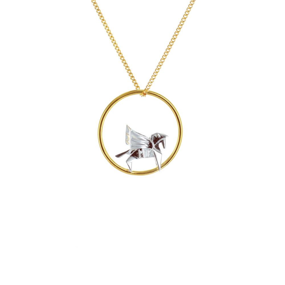 Circle Pegasus Gold & Silver Necklace