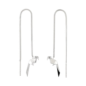The Parrot Silver Chain Earrings