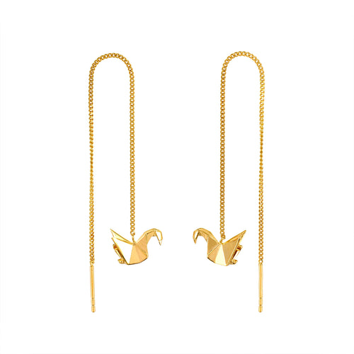 The Swan Gold Chain Earrings
