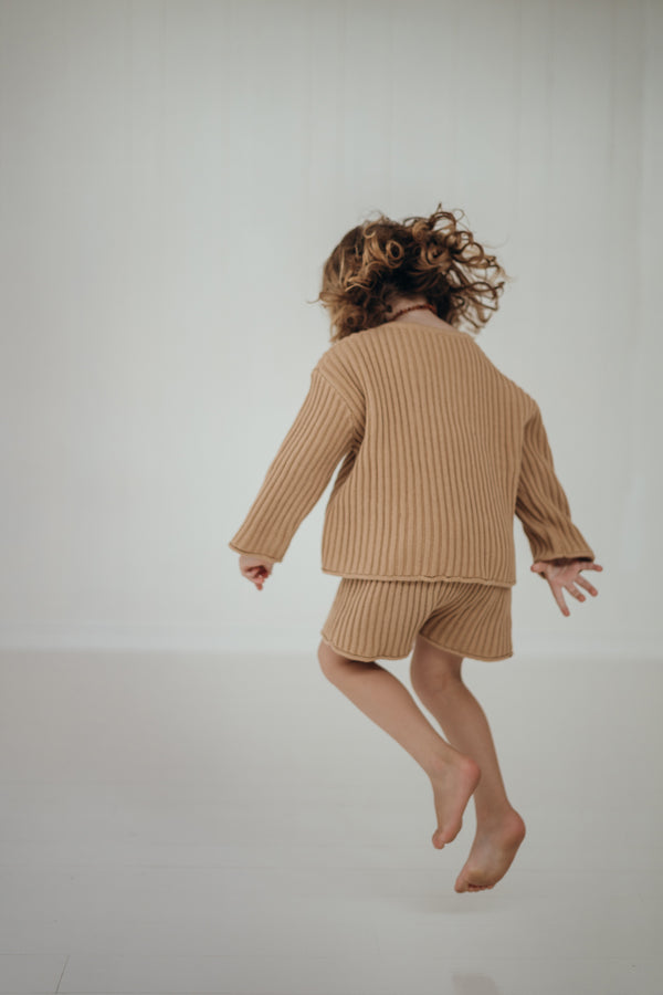 Essential knit shorts | Caramel