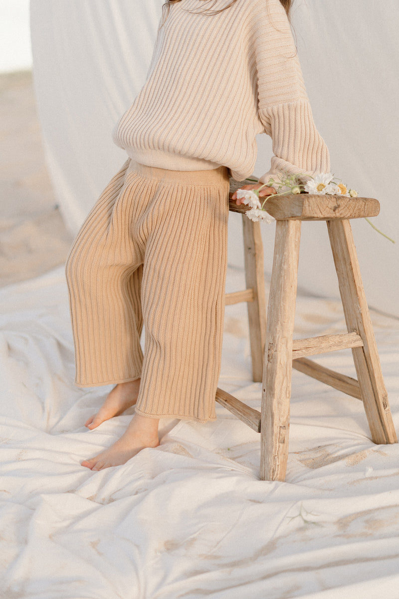 Essential knit pant | Caramel